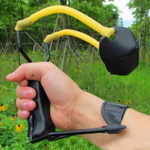 Survival tool High Power Hunting Folding Sling Shot hunting Slingshot With Wrist Brace Powerful free shipping(China)