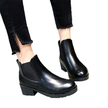 Buy SLHJC Autumn Leather Boots Medium Heels Chunky Stacked Heel Ankle Boots Short Design Shoes Pumps 5 CM Heel Slip Women Shoes for $14.75 in AliExpress store