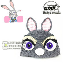 Zootopia Judy Rabbit Crochet Beanie Kids Girls Cap Hat Parking Ticket Officer Knit Character Cartoon Hat Halloween Cosplay Wear