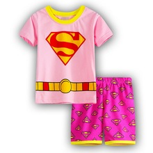 2017 Superman Children Pajamas Set Girls Character Sleepwear Pijamas Suits Baby Girls Kids Clothes Children Clothing Set