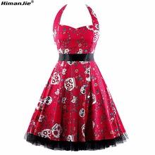 HimanJie Red Women Dress Plus Size Summer Clothing 2017 Halter Skull Floral Pin up Retro Vintage 60s 50s Rockabilly print Dress(China)
