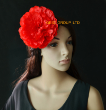 Red silk flower hair accessory handmade flower for fascinator church hat  sinamay hat.