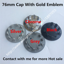 100pc New Car Styling Silver 76mm Black Chrome Grey Wheel Hub Center Caps Car Covers Badge Emblem