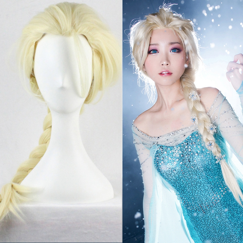 High Quality Anime Cosplay Wigs Frozen 80cm Long Straight Elsa Princess Wigs for Women Female Fake Hair Braided Wig Blond<br><br>Aliexpress