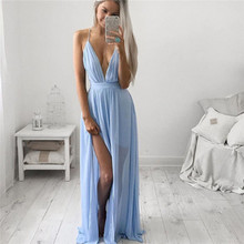 2016 New Sexy Women Girls Summer Chiffon Sleeveless Boho Long Maxi Dress Sleeveless  Spaghetti Strap  Party Beach Dress Blue