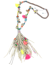 2017 New personalized handmade jewelry supplier long beaded chain leather tassel pendents unique boho Bohemia long Necklaces