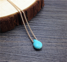 silmple Necklace Tiny Teal Teardrop Pendant long Chain elegant Necklace Minimalist Statement Jewelry Dainty Gift For Her