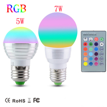 Dimmable Magic RGB LED Bulb lamp E27 5W 7W AC85V-265V Soptlight Night light+IR Controller,E14 RGB Spot light for Holiday Decor