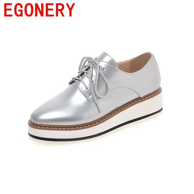 EGONERY 2018 new spell able patent leather wedges single pumps lace-up zapatos mujer loafers breathable woman platform shoes<br>