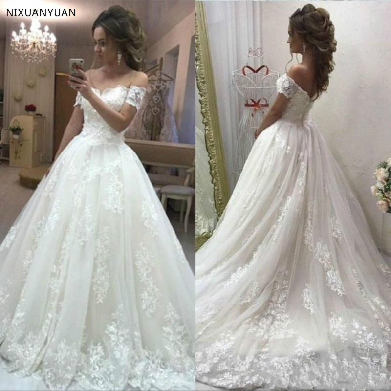 Sexy Lace Wedding Dress Off The Shoulder 2019 Princess Arabic Bride Bridal Dress Court Train Wedding Gown Robe De Mariage