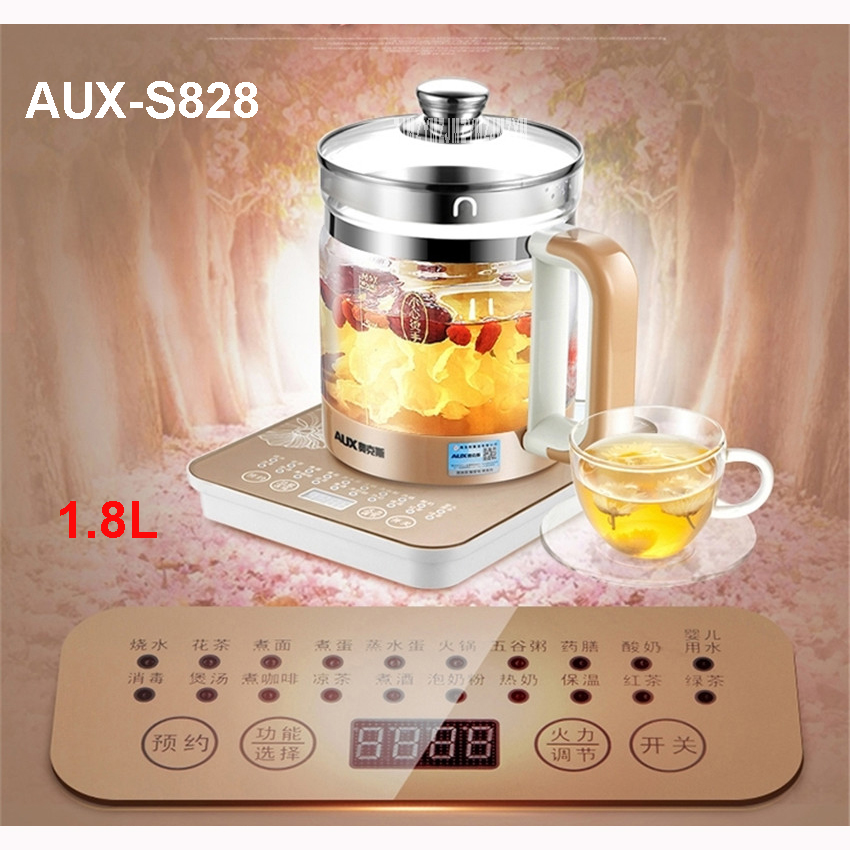 AUX-S828 1.8L multifunctional health glass maker water cooker household electric kettle 220V/50Hz tea pot  Electric Kettles<br>