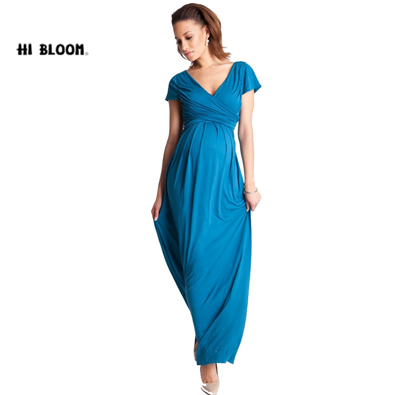 HI BlOOM Mothers Day New Summer Long Maternity Evening Party Dress Prenancy Clothes V-Neck for Women Gowns Noble Vestidos Hot<br>