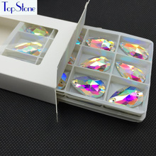 Top Quality Crystal AB 48pcs/box 17x28mm Teardrop Sew On Rhinestones Flat Back 2 Holes Droplet Sewing Glass Crystal stone