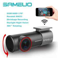 2017 New mini WiFi Car DVR FHD Night Vision universal hidden Dash Cam Recorder Rotatable Lens Wireless Snapshot APP Dual cameras