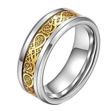 Mens Stainless Steel Gold & Silver Tone Hollow Out Carved Ring For Men Male Wedding Engagement Ring