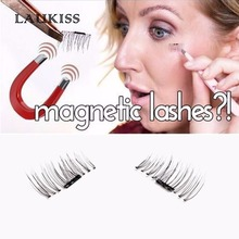 3D Magnetic Eyelashes 4pcs/pair Artificial Natural Long Magnetic lashes Cross Thick Magnetic Eyelash Popular LAUKISS NewArrival(China)
