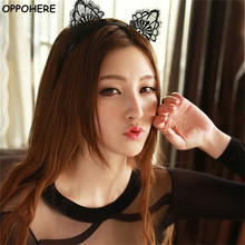 1 Pc Black Lace Cat Ears Headband For Women Girls Hairband Dance Party Sexy Boutique Hair Hoop Hair Accessories 2017 Hot Sale(China)