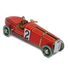 Wholesale Iron metal Handicraft Vintage red Wind Up Racing old classic Race Car model Clockwork tin Vehicle toy Collectable Gift(China)