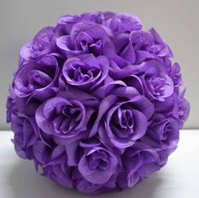 Light purple lavender color kissing ball silk rose ball artificial silk rose ball