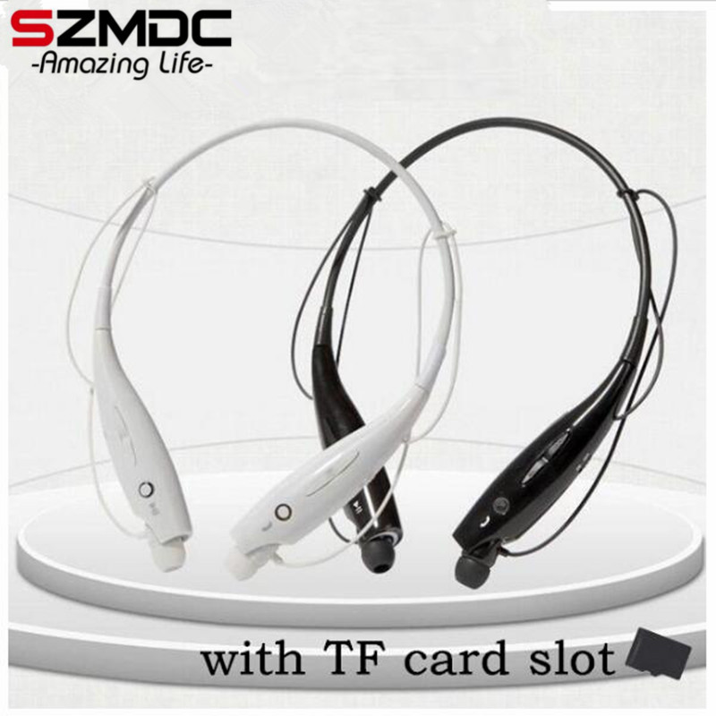 HOT 730 SD Card Slot Wireless Bluetooth Headset Sports Bluetooth Earphones Headphone Mic Bass Earphone Samsung iphone