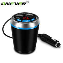 Onever Car Bluetooth FM Transmitter Music MP3 Player Hands Free Car Kit Cup Holder Cigarette Lighter 2 USB Car Charger Adapter(China)