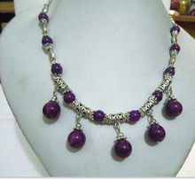 FREE SHIPPING   Rare.tibet Silver jewelry Purple  beads Necklace pendant