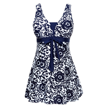Women's Halter Shaping Body One-piece Swimsuit Plus Size Swimwear Navy Blue XL(China)