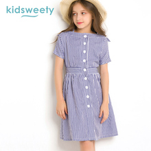 Kidsweety Girls Dresses A-Line Slash Neck Kid Blue Stripe Pleated Patchwork Print Children Short Sleeve Button Casual Girl Dress(China)