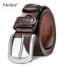 TAIGU Leather Belt Men Italian Genuine Cow Leather Male Belts For Men Metal Pin Buckle Free Shipping