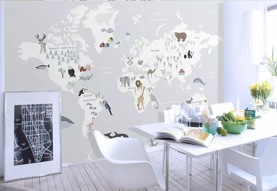 HTB1yJx3k5MnBKNjSZFzq6A qVXad - Beibehang large 3D animal map wallpaper For children room-Free Shipping