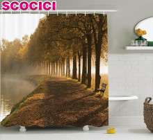 Farm House Decor Shower Curtain Set Walkway At The Canal In Morning Mist Foggy Blurry Day Relaxing Spot In City Picture Bathroom