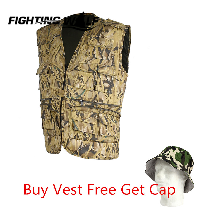 Men Outdoor Camouflage Waistcoat Vest +Cap Waterproof Hunting Camping Hiking Mens Sleeveless Jackets Coat Sport Wear Clothing<br><br>Aliexpress