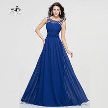 Royal Blue Evening Dresses 2017 Cheap Party Long Dresses Beaded A-line Plus Size Flowers Chiffon Gown Actual Images Hot sale
