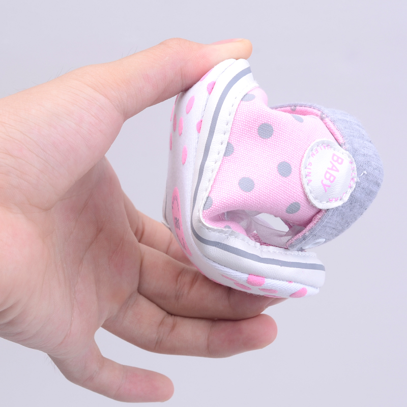 Infant Newborn Baby Girls Boy Glitter Polka Dots Autumn Lace-Up First Walkers Sneakers Shoes Adorable RibbonToddler Canvas Shoes 16