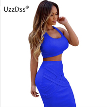 Women Two Piece Outfits New Arrival 2017 Summer White Yellow 2 Piece Bandage Dress High Waist Sexy Club Bodycon Party Dresses(China)