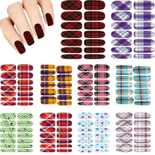 Hot 10pcs Set Water Transfer Foils Nail Art Sticker Scarlet And Black Plaid Design Manicure Decals Minx Nail Sticker Patch Cheap
