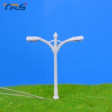 50Pcs 5CM Layout Streets Lamp Model Double-heads Lights Lamppost Model Railway Street Lighting Children Toy 1:200 Scale(China)