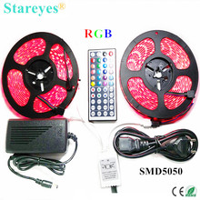 1 set SMD 5050 60 LED/M 10 Meters RGB LED Strip tape Flashlight lighting IP65 Waterproof strip+44 key Remote+6A Power Adapter(China)