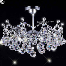 empire Mini Crystal Chandelier Chrome Finish christmas lights Hanging kit Guaranteed100% Bedroom lamp Hall D400MM(China)