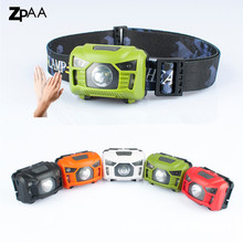 ZPAA LED Body Motion Sensor Headlamp Mini Headlight USB Rechargeable Red Light White Light Outdoor Camping Flashlight Head Torch