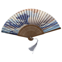 Japanese Handheld Folding Fan, with Traditional Japanese Ukiyo-e Art Prints