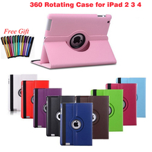 Phone Case For Apple Pad 2/3/4 9.7 inch Case 360 Rotating Leather Stand Protector Cover+Stylus Pen Cover for Pad 2 3 4 Capa
