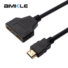 Amkle 1080P 2 Port HDMI Splitter 1 in 2 Out HDMI Male to HDMI Female Adapter Converter Video Cable HDMI Switch for PC Display
