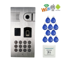 FREE SHIPPING RFID Fingerprint Code Keypad Access 960P Wireless Wifi Video Door Phone Intercom Doorbell Camera for Android IOS