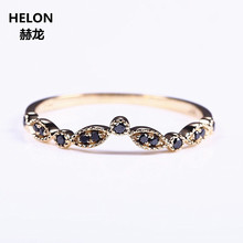 Solid 14k Yellow Gold Natural Black Diamonds Wedding Band Engagement Ring Women Fine Jewelry Millgrain Art Deco Vintage(China)