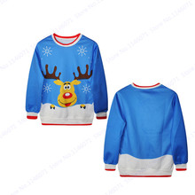 Cute Red Nosed Reindeer Training Sweater Blue Christmas Hoodie Pullover Autumn Winter Print Sweatshirts Men Exercise Sport Suit