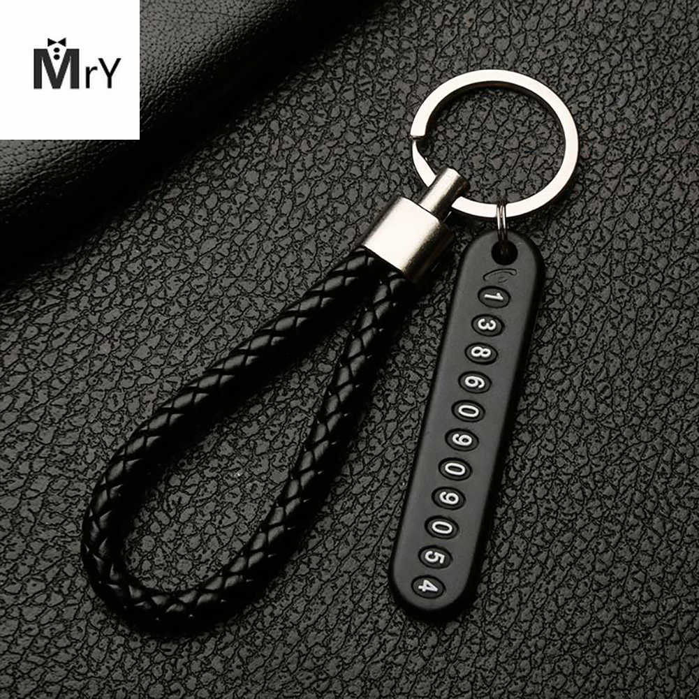 Anti-lost Car Keychain Phone Number Card Keyring Phone Number Plate Key Ring Auto Vehicle Key Chain Accessories