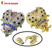 USB Flash Drive 4GB 8GB 16GB 32GB Full Capacity stars Ladybug Shape Crystal USB 2.0 Flash Drive Beetle pendrive Memory Stick