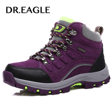 DR.EAGLE Outdoor boots trekking hiking shoes genuine leather moutain waterproof winter women's sneakers warm climbing shoes(China)