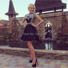 Heavy Beaded Short Black High Neck Sexy Girls Cocktail Dress 8th Grade Prom Homecoming Gowns 2017